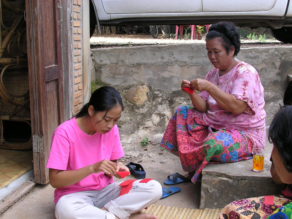 Thai women sewing